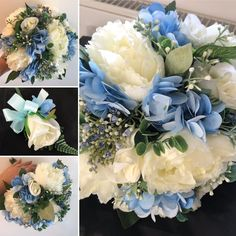 A wedding bouquet collection of artificial blue and ivory peonies and roses Peony Rose, Hydrangea Flower, Flowers, Artificial Wedding Bouquets, Peonies, Floral Wreath, Roses, Ivory, Wreaths
