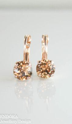 Brown crystal earrings | Swarovski Light smoked topaz crystal drop earrings | fall wedding | fall fashion | www.endorajewellery.etsy.com