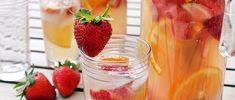 Skip the sugary pie in favor of this refreshing, low-calorie white sangria recipe Fresh strawberries and rhubarb never tasted so good.