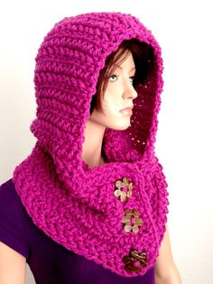Crochet Hooded Cowl in Pink by Africancrab on Etsy