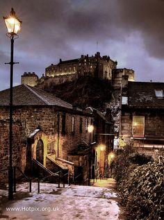 View of Edinburgh Castle at night fall.