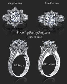 A look at the Large and Small versions of the original Blooming Beauty Flower Diamond Rings by BloomingBeautyRing.com  #FlowerRings #DiamondRings Unique Diamond Rings, Unique Rings, Engagement Ring Settings, Diamond Engagement Rings, Engagement Bands, Bridal Ring Sets, Pretty Rings, White Gold Rings, Silver Ring