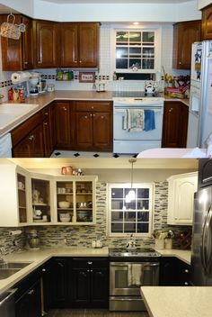 the only things we kept were the cabinets door pulls  u0026 faucet  painted our kitchen cabinets like a pro  went from medium brown to espresso  u0026 cream  20 inspiring diy kitchen cabinets simple do it yourself ideas      rh   pinterest com