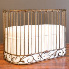 How chic is this gold crib from @Suzan Hamilton Decor?!
