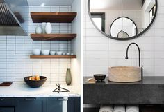 subway tile in a more modern house stacked vertically or horizontally (on top of each other), but not if it's bevelled