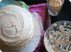 salted caramel buttercream frosting ... with devil's food cake