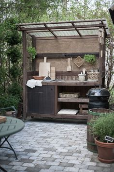 Outdoor Potting Bench, Outdoor Kitchen Patio, Outdoor Kitchen Design, Outdoor Life, Outdoor Rooms, Backyard Patio, Backyard Landscaping, Outdoor Living, Outdoor Decor