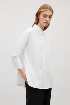 COS image 7 of Cotton poplin and jersey shirt in White