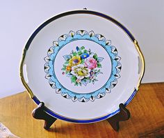 Noritake Morimura Plate, Vintage Plate With Handles, Art Deco Plate Vintage Plates, Noritake, Blue And White, Yellow, Blue Area, Floral Bouquets, Gifts For Mom, Decorative Plates, My Etsy Shop