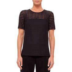 Akris Punto Short-Sleeve Circle-Embroidered Blouse ($695) ❤ liked on Polyvore featuring tops, blouses, black, embroidered blouse, short sleeve blouse, sheer top, short sleeve sheer blouse and sheer embroidered top
