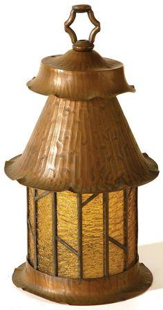 Arts & Crafts Copper Leaded Lantern