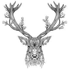 Il bello e l'orrido: Ina Dorthea Thuresson Nature Tattoos, Body Art Tattoos, Tattoo Drawings, Mystical Tattoos, Aquarell Wolf Tattoo, Stag Tattoo Design, Stag Design, Cervo Tattoo, Hirsch Tattoos