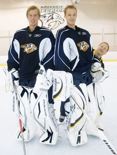 Anders Lindbäck and Pekka Rinne - Only the best two goalies in National Hockey League! - Nashville Predators -- Goalie coach Mitch Korn really is that short compared to Anders and Pekka!