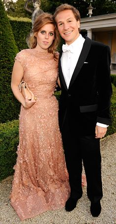 Beatrice chose a peach Elie Saab design to attend the 13th Annual White Tie and Tiara Ball to Benefit Elton John AIDS Foundation in Association with Chopard at Woodside in Windsor with boyfriend Dave Clark.