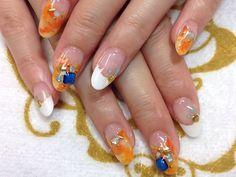 エスニックタイダイ☆ネイル 【Parure 西新宿ROSE店】 http://nail-beautynavi.woman.excite.co.jp/design/detail/5009?pint ≪ #nail #nails #nailart #softgel #orange #秋ネイル #ネイル #フレンチ #変形フレンチ ≫