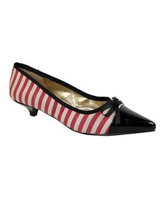 Take a look at this Red & White Stripe Helen-5 Kitten Heel by C Label on #zulily today!  $16.99, regular 45.00