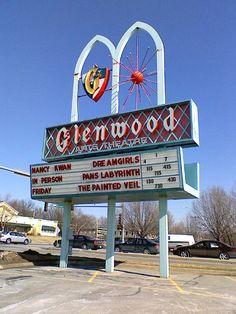 Glenwood Theatre in Overland Park, KS Old School Restaurant, Vintage Restaurant, Kansas City Restaurants, Overland Park Kansas, The Painted Veil, Vintage Christmas Photos, Drive In Movie Theater, Kansas City Missouri, Vintage Signs