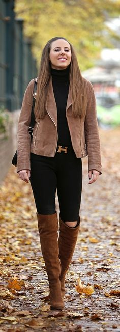Brown suede OTK boots fall outfit it's brown leather jacket