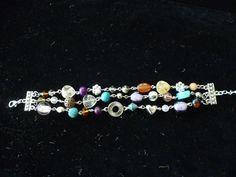 Jeweled TripleStrand Bracelet with Charm by ElliTs on Etsy, $45.00