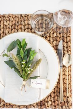 combination of rustic greens will give the same natural, lush effect. Here we mixed in 2 stems of myrtle, a piece of seeded eucalyptus, feather grass and a sprig of mini white wildflowers. Tied with a burlap colored string