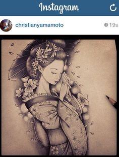 Sketch Gueisha by Chris Yamamoto #sketch #gueisha #tattoo #chrisyamamoto #christianyamamoto www.instagram.com/chris_yamamoto
