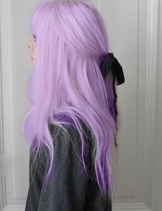 Pastel purple hair w/ black bow