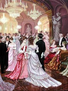 At the ball. Victorian Paintings, Victorian Art, Victorian Fashion, Classic Paintings, Old Paintings, Costume Venitien, Classical Art, High Society, Beautiful Paintings