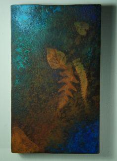 Spettro # 4  da Terezin. Pittura subacquea su pseudofossile, 2014. Tecnica mista su ferro ossidato.