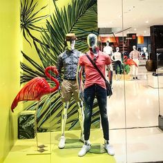 WEBSTA @ few.steps.ahead - We loved creating these set of colourful summer windows for the collective and they are just a beauty! #retaildetail #retaildesign #styling #fewstepsahead #02junedesignstudios #windowdisplay #windows #summer #ss17 #thecollective #Mannequins #styling #beauty #tropical #wantmore #green #flamingo