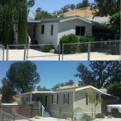 We transformed our outdated Single Wide Mobile Home and made it warm and inviting. A little paint, shutters, clear the shrubs and brush, added new gates.