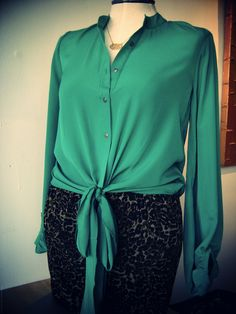 Emerald Tie Up Blouse, goes amazing with everything! have the same in black