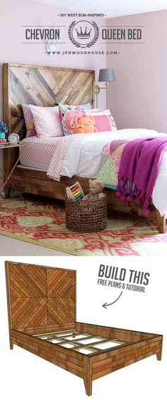 Jen Woodhouse show you how to build this DIY Reclaimed Wood Bed, inspired by the  West Elm Alexa model.