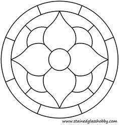 Flower stained glass round panel pattern outline
