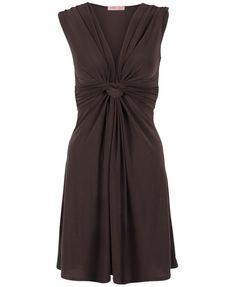 KRISP Women's Ruched Drape Twist Knot Mini Dress, Chocolate (PLAIN), Size 16 UK / 44 EU