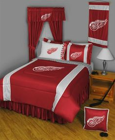 NHL Detroit Red Wings - 5pc BED IN A BAG - Queen Bedding Set by store51. $119.46. Two standard pillowcases (the white ones in the picture), each fit 20 x 26 inch (51 x 66 cm) pillows.. One queen flat bed sheet, finished size 90 x 102 inches (229 x 259 cm). One queen fitted bed sheet.. Pattern: NHL Detroit Red Wings.. One queen size comforter 86 x 86 inches (218 cm x 218 cm).. Genuine licensed merchandise. Machine washable.. Pattern: NHL Detroit Red Wings. Genuine licens...