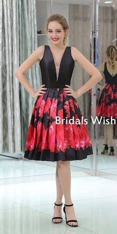 Pretty Deep V-neck Black& Red Sleeveless A-line Homecoming Dress – bridalswish Pretty Homecoming Dresses, Elegant Bridesmaid Dresses, Pretty Dresses, Prom Dresses, Junior Dresses, Short Dresses, Lace Tops, Dream Dress, Fashion Dresses