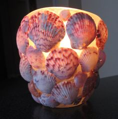 Scallop sea shell candle holder see thru on frosted by paintallday, $12.00