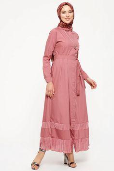 Refka Gül Kurusu Doğal Kumaştan Düğmeli Elbise Muslim Fashion 74fe7b1dce