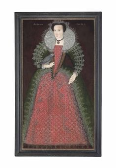 English School, 1592 Portrait of a lady, aged 15, traditionally identified as Elizabeth Paulet, full-length, in a red and green embroidered dress with lace trim and a lace ruff, holding a cherry and a parakeet on her right hand inscribed and dated 'ANO DNI 1592' 'Ætatis Suæ . 15 .' (upper left and upper right respectively) oil on panel, marouflaged 64¼ x 35 5/8 in. (163.2 x 90.3 cm.)