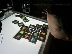 Photo Slides on the Light Table - Finally - A use for all those projector slides from our childhood!
