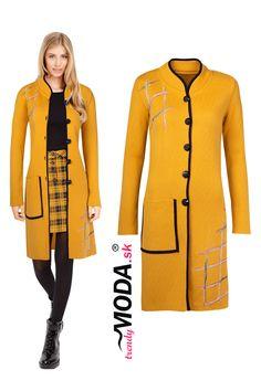 Originálny žltý predĺžený dámsky sveter s jemnou aplikáciou Sweaters, Fashion, Moda, La Mode, Sweater, Fasion, Fashion Models, Trendy Fashion