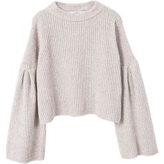 Flared Sleeves Sweater (€33) ❤ liked on Polyvore featuring tops, sweaters, flared sleeve top, long bell sleeve tops, bell sleeve tops, knit top and long white sweater