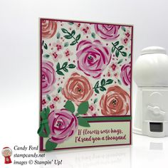 Beautiful floral card sending hugs, made with the Abstract Impressions stamp set and Garden Impressions Designer Series Paper by Stampin' Up! #stampcandy