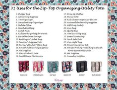 31 Uses for the Zip Top Organizing Utility Tote! #gifts #thirtyone #sales Erica Gates