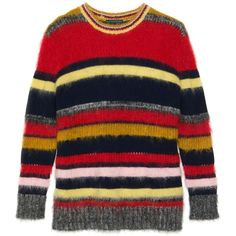Stripy Mohair Jumper ($550) ❤ liked on Polyvore featuring tops, sweaters, striped jumper, mohair sweater, red stripe sweater, stripe sweater and striped sweater