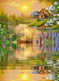 Browse pictures, photos, images, GIFs, and videos on Photobucket Beautiful Gif, Beautiful Places, Beautiful Pictures, Nature Paintings, Landscape Paintings, Belle Image Nature, Gif Bonito, Graffiti Kunst, Scenery Pictures