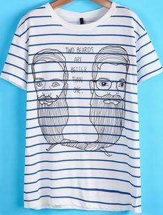 T-Shirt motif moustache et avatar -bleu blanc  EUR€7.32