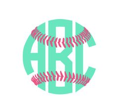 Softball Monogram Decal for car laptop cup by aSweetSouthernAccent