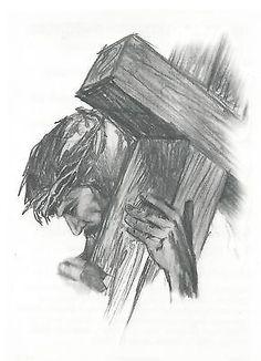 Wood Cross Drawing jesus caring the cross Christian Drawings, Christian Artwork, Jesus Painting, Painting & Drawing, Christus Tattoo, Jesus Sketch, Drawing Sketches, Art Drawings, Cross Drawing