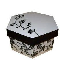 cajas exagonales forradas en papel ó telas a elección 20x10